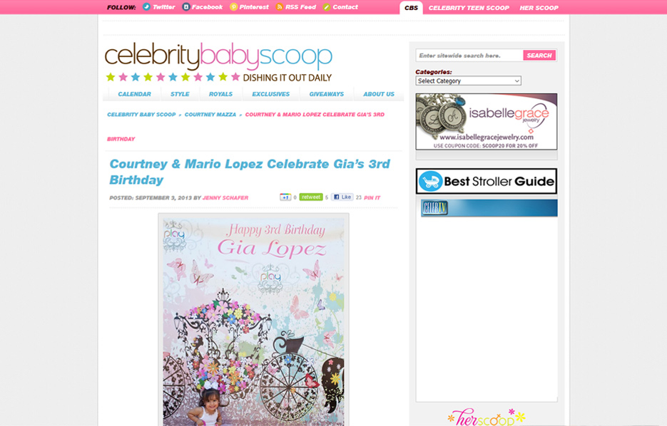 The Lopez Family using Posh Mommy products in a Celebrity Baby Scoop Blog Article