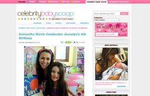 Samantha Harris using Posh Mommy products in a Celebrity Baby Scoop Blog Article