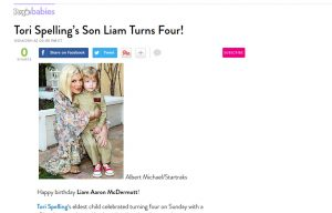 Tori Spelling using Posh Mommy products in a PeopleBabies Blog Article