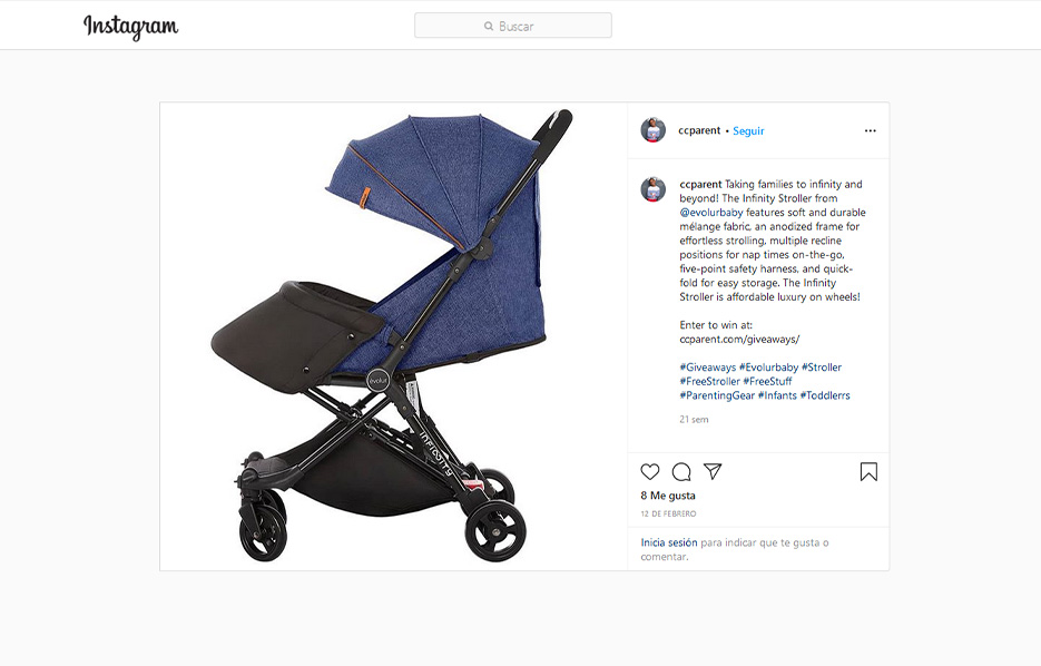 CCParent Mentioning Evolurbaby Products in a Instagram Post