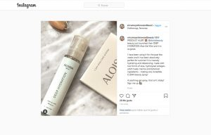 Erica Moyer Brown and Beaut mentioning Aloisia Beauty in a instagram post