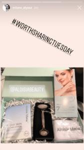 Alyssa Milano mentioning Aloisa Beauty in her Instagram Stories