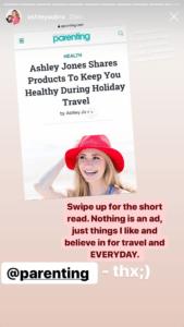 Ashley Jones mentioning parenting Magazine in her Instagram Stories