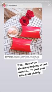 Ashley Jones mentioning Aloisa Beauty in her Instagram Stories