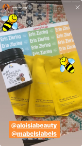 Erin Ziering mentioning Aloisa Beauty, Shop Pri and Mabel´s Labels in her Instagram Stories