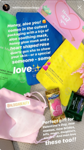 MK Fitness Blog Mentioning Aloisia Beauty in her instagram Stories