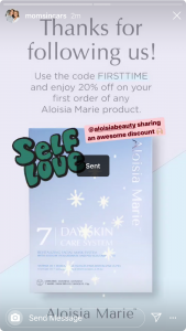 Moms In Cars Blog mentioning Aloisa Beauty in her Instagram Stories