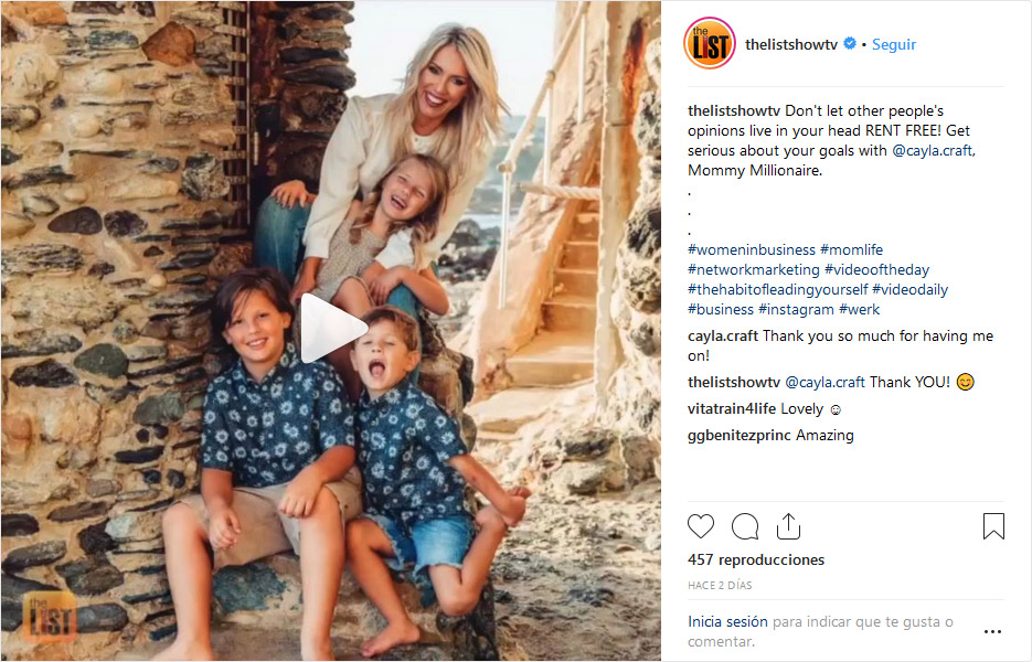 The List Show mentioning Cayla Craft, Mommy Millionaire, in a Instagram Post