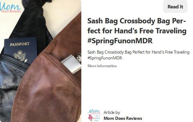 Pamela Maynard from Mom Does Reviews recomending Sash Bag Crossbody bag in a Pinterest Post