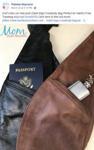 Pamela Maynard from Mom Does Reviews recomending Sash Bag Crossbody bag in a Facebook Post