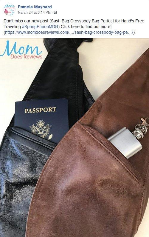 Pamela Maynard from Mom Does Reviews recomending Sash Bag Crossbody bag in a Facebook Post
