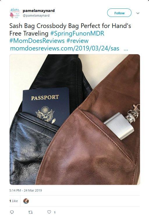 Pamela Maynard from Mom Does Reviews recomending Sash Bag Crossbody bag in a Twitter Post
