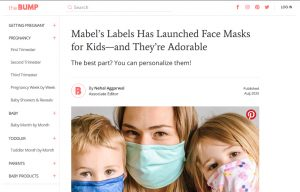 Mabel´s Labels Face Mask for Kids in The Bump Digital Magazine Article